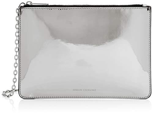 Armani Exchange Damen Flat Cross-Body Bag Umhängetasche, Silber (Argento), 18.0x1.0x25.5 cm