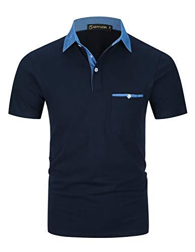 GHYUGR Polo Uomo Manica Corta Maglietta Denim Collare Casuale Poloshirt Camicia Golf T Shirt