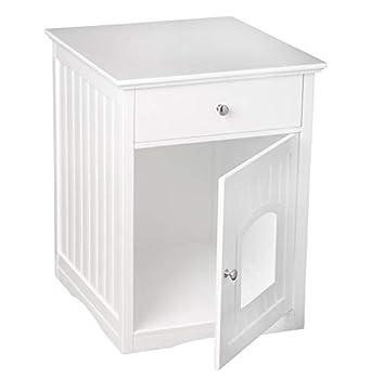 Armoire pour chat UPP - Avec tiroir - Blanc brillant - Dimensions:57,8x 62,263,5cm - Avec grotte - En bois certifié FSC.