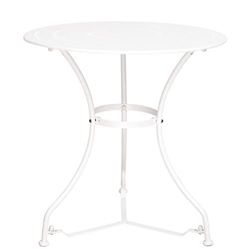 BUTLERS Century Tisch in Weiß Ø 70 cm - Gartentisch aus beschichtetem Eisen - Balkontisch, Kaffeetisch, Beistelltisch (Eisen-tisch)
