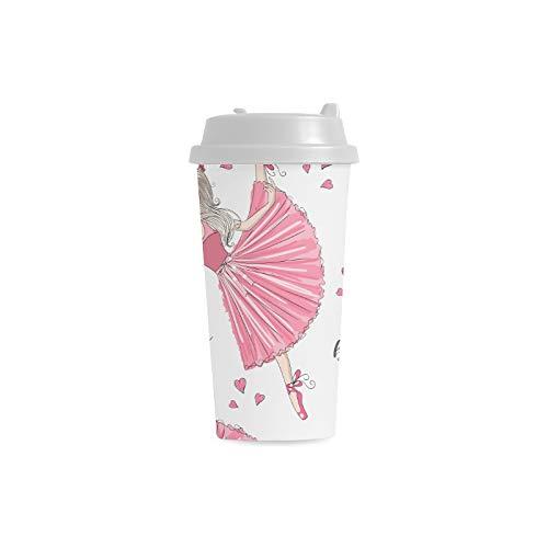 Tanzen Mädchen Beuty buntes Kleid Gewohnheits 16 Unze doppelwandiger Plastikisolierte Sport Wasser Flaschen Becher Pendler Reise Kaffeetassen für Studenten Frauen Milch Teetasse Getränk (Kostüm Glas Milch)