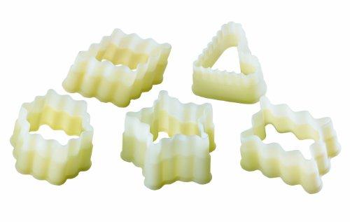 Set de 5 découpoirs cannelés polyglass (1 coeur,1 rectangle,1 losange,1 hexagone, 1 étoile)