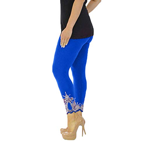 Damen Stretch-wolle-langer Rock (WOZOW Damen Leggings Gamaschen Übergröße Solid Basic Lace Cuff Trousers High Waist Stretch Elastisch Dünn Skinny Lang Long Sport Hose Yoga Stoffhose (S,Blau)