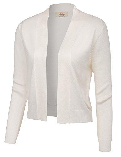 GRACE KARIN Mantel Damen weiß Strickmantel Langarm cardigen Strickweste L CL773-2
