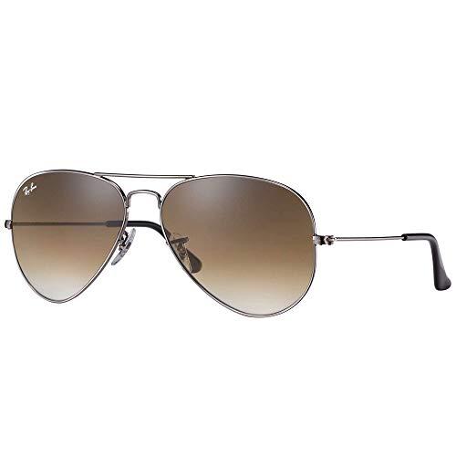 Ray Ban Unisex Sonnenbrille Aviator, Gr. Large (Herstellergröße: 62), Braun (Gestell: gunmetal, Gläserfarbe: braun verlauf 004/51)