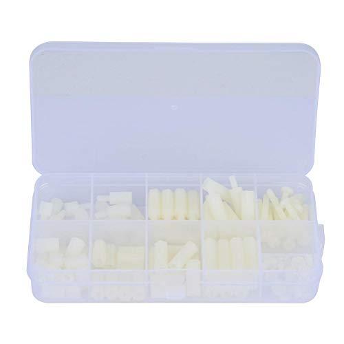 Lauge Kit (Zerone 130 stücke 1 Box Weiß Nylon Material M3 Schraubenmutter Set Kunststoffbefestigungsschraube Kit)