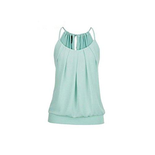 (Yvelands 2018 Damen Rundhals Falten T-Shirt Ärmellos Stretch Tunika Top)