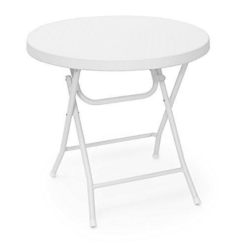 Relaxdays Gartentisch klappbar BASTIAN, rund, H x B x T: 74 x 80 x 80 cm, Metall, Kunststoff, Rattan-Optik, weiß