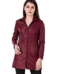 Leather Retail Faux Leather Long Jacket for Woman's