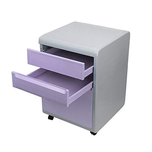 MIAOLULU 3-Drawer Mobile File Cabinet A4-Datei, Lockable Fülldatenkabinette Hanging File Frame,Purple