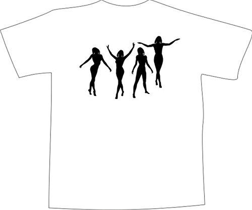 T-Shirt E210 Schönes T-Shirt mit farbigem Brustaufdruck - Logo / Grafik - minimalistisches Motiv - Tänzerin / Silhouette in verschiedenen Positionen Weiß