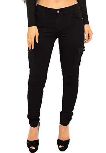 Pantalon Cargo pour Femme Coupe Slim, Skinny et Stretch - Noir - 34