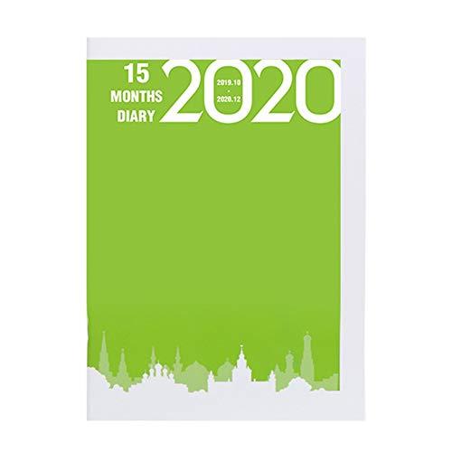 Notebook 2020 Planner Agenda Einschuss Tagebuch A5 Meeting Buch-Mädchen-Schule-Briefpapier Monat Plan Management Supplies (Farbe : Grass green) -