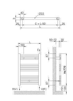 770 mm x 500 mm Scaldasalviette Elettrico Bianco 400w Orion