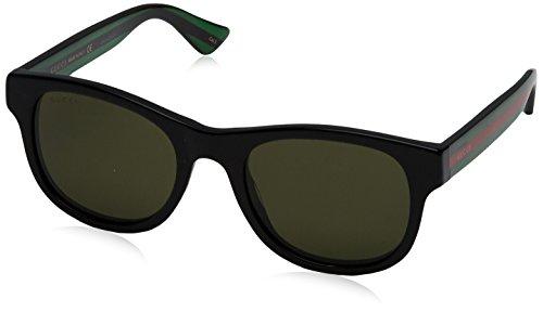 Gucci GG0003S 002, Occhiali da Sole Uomo, Nero (Black/Green), 52