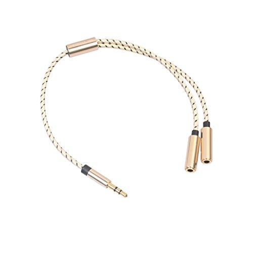 Audio-Kabel 3,5 mm Stereo Audio Y-Splitter 2 Buchse auf 1 Stecker Kabeladapter für Kopfhörer (Gold)