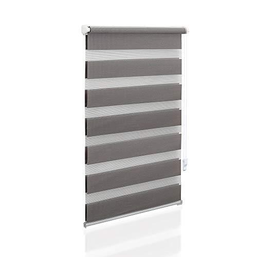 Eurohome Doppelrollo Klemmfix ohne Bohren, Duo Rollo,50cm x 150cm (Stoffbreite 46 cm) Grau Transparentes und undurchsichtiges Sichtschutz Rollo mit Klemmträgern für Fenster