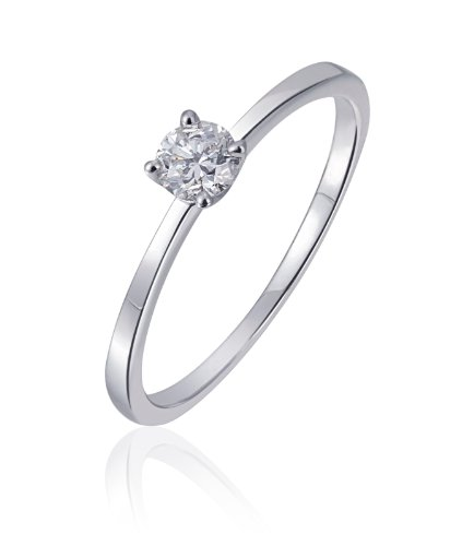 Goldmaid Damen-Ring Solitär Verlobungsring 585 Weißgold 1 Brillant 0,25 ct. Gr. 56 -