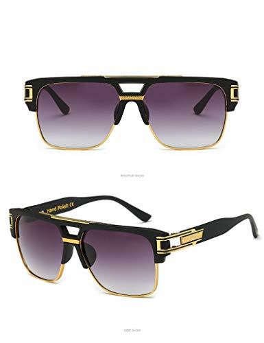LKVNHP New Hohe Qualität Übergroßen Herren Sonnenbrille Frauen 155Mm Breite Sonnenbrille Für Mann Platz SchwarzGold Gradienten Anti Reflektieren MarkeMattschwarz