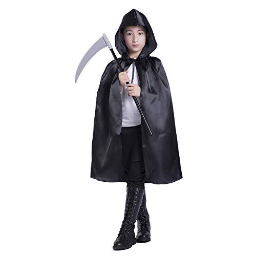 Cape Mit Kostüm Vampir Mädchen - Huntforgold Umhang mit Kapuze Lange Satin Cape für Halloween Vampir Kostüm(60-170cm) Schwarz