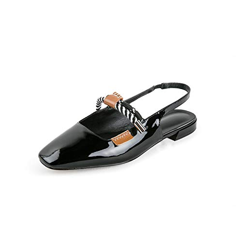 NEWMEN RIGHT 2019 New Spring Summer Square Toe Shallow Pu Leather Elastic Band Simpel Casual Flat Sandals Women Fashion Tide 10C585 Black 40