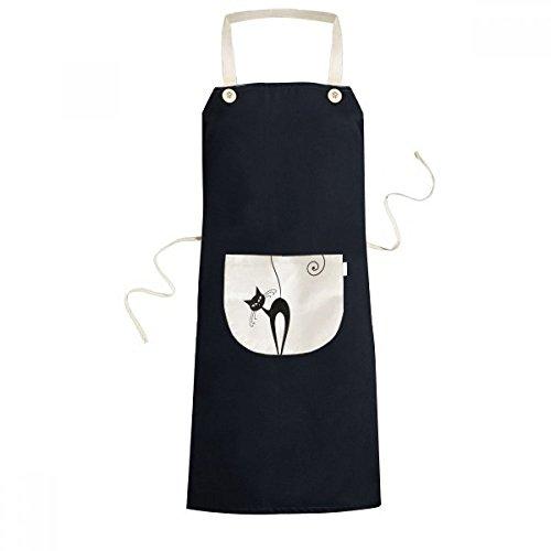 beatChong Neigekopf Schwarze Katze Halloween-Tier-Kunst Silhouette Kochen Küche Schwarz Schürzen mit Taschen für Frauen Männer Chef-Geschenke (Katze Silhouette Halloween)