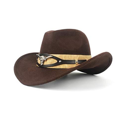 Western-Cowboy-Hut-Herren-Leder-Sombrero der Mode-Cowboyhut-Damen Hut (Farbe : Braun, Größe : 56-59cm) - Mode-hut