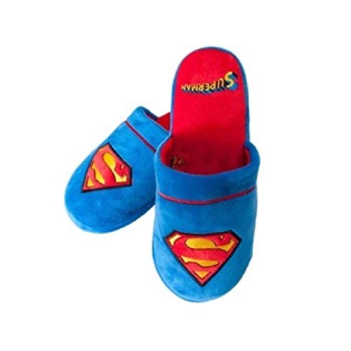 Mens Official Superman DC Comics Superhero Soft Plush Slip On Kids Mule Slippers