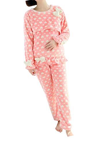 zhbotaolang Frauen Mutterschaft Flanell Pflege Pyjamas - Damen Schwangerschaft Nachtwäsche Weich Stillen Freizeitkleidung Set 2XL