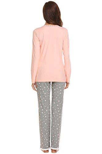 ADOME Damen Basic Schlafanzug V-Ausschnitt Zweiteiliger Lang Pyjama Weich Hausanzug Hellrosa847