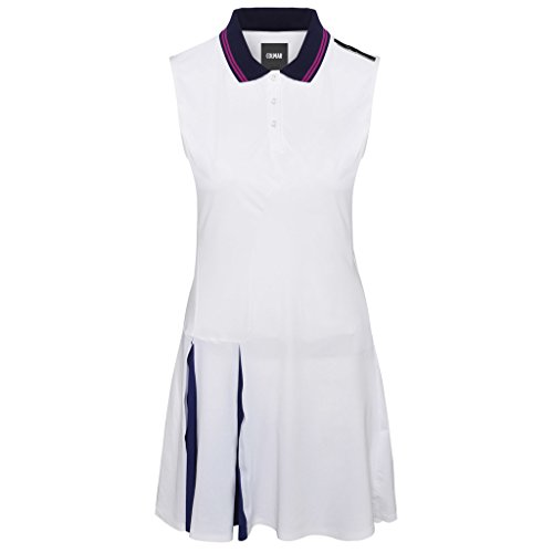 COLMAR Dress with Flounces On The Side White/Prussian Blue 38