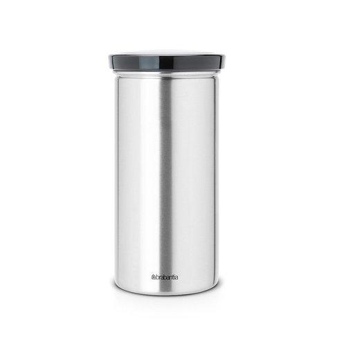 Brabantia Vorratsdose aus Edelstahl für Kaffeepads Senseo, Schutz vor Fingerabdrücken Deckel in schwarz