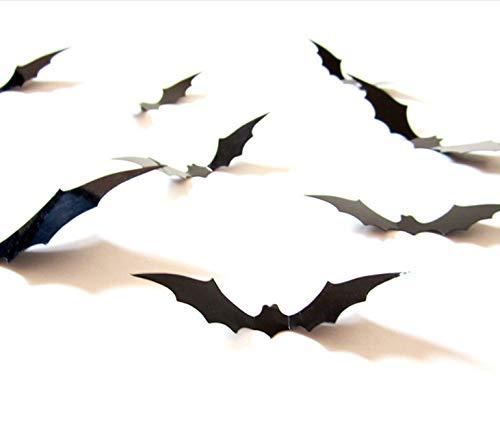 Wandaufkleber 12 Stücke Schwarz 3D Diy Pvc Bat Wandaufkleber Aufkleber Home Halloween Dekoration