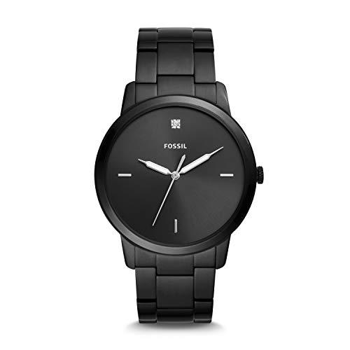 Fossil FS5455 Herren-Uhr The Minimalist 3H Edelstahl Carbon-Series Schwarz Ø 44 mm