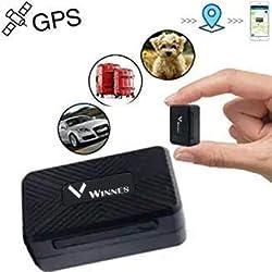 Winnes Mini GPS Tracker, Starker Magnetischer GPS Tracker Langer Standby Echtzeit Positionierung Anti-Lost Locator für Haustiere, Kinder, Fahrzeuge mit APP TK913