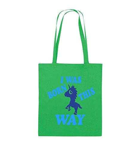 Comedy Bags - I was born this way - EINHORN - Jutebeutel - lange Henkel - 38x42cm - Farbe: Schwarz / Weiss-Neongrün Grün / Hellblau-Royalblau