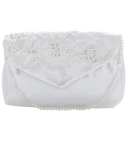 Princess Taufkleid Brauttasche Modell T18 elfenbein Größe 23 x 15 cm Satin Strass Damen Clutch Abendtasche Handtasche Umhaengetasche