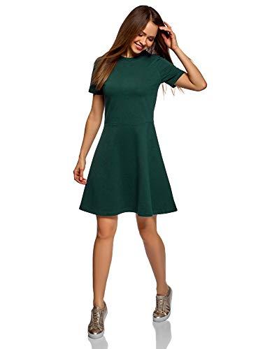 oodji Ultra Damen Tailliertes Kleid mit Reißverschluss, Grün, DE 36 / EU 38 / S