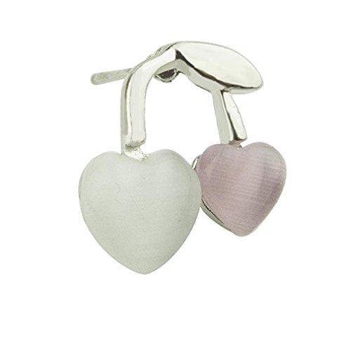 YAZILIND Silber überzogene doppelte Herz-Bolzen-Ohrringe für - Kristall-herz-bolzen-ohrringe