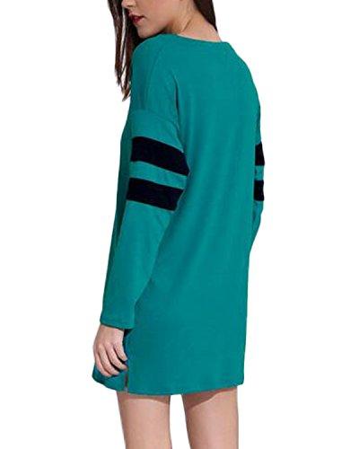 Auxo Femme Lâche Casual Manches Longues épissage Rayées Sexy Pullover Robe Tops Chemises Blouses Vert