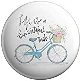 AVI White Fridge Magnet with Positive Quotes Life is a Beautiful Ride Design Metal Regular Size 58mm MR8001164