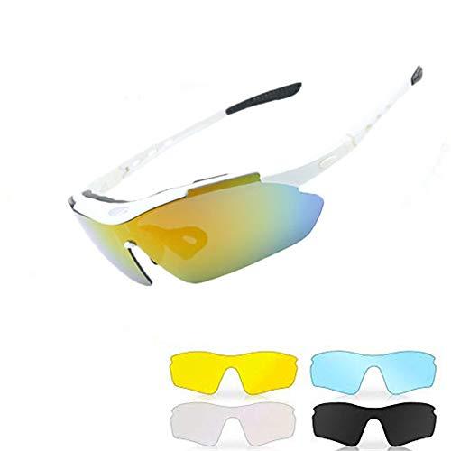 Yiph-Sunglass Sonnenbrillen Mode Polarisierte Sportschutz Radfahren Brille Sonnenbrillen mit 5 Wechselobjektiven für Männer, Frauen, Outdoor-Aktivitäten (Farbe : Weiß)