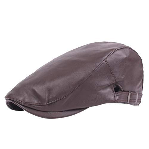 ziYOU hat Unisex Cap Lässig Flache Zeitungsjunge Baker Berets Entenschnabel Golf Driving Cabbie Verstellbarer Hut(One Size, Braun) - Klassisches Golf Cap