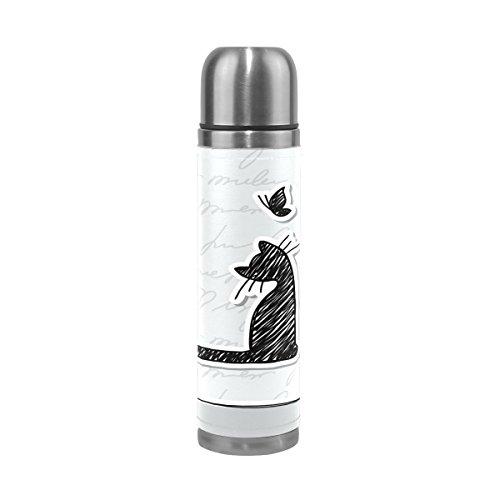 Alaza Katze Schmetterling Wasser Flasche Edelstahl Vakuum Isoliert Thermoskanne 17Oz echtes Leder verpackt,