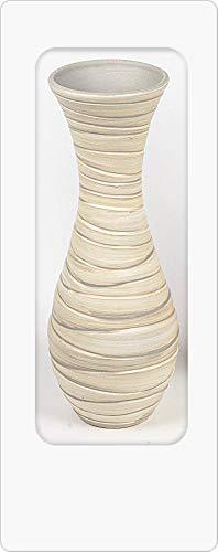 Formano Deko Bodenvase Relief rund H. 52cm D. 18cm Creme Keramik