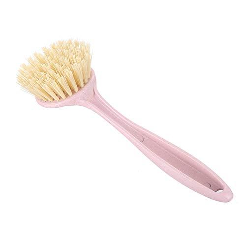 Huhuswwbin Spülbürste mit langem Griff Weizenstrohhalm Haushalt für Pfanne Spülbecken Reinigungsbürste Küchenwerkzeug rose