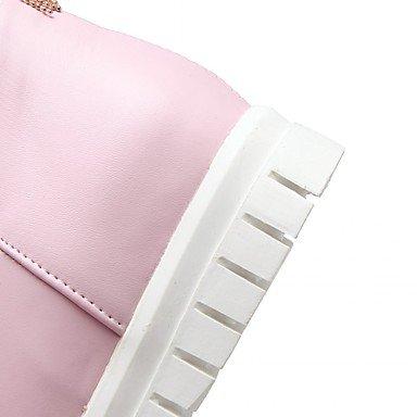 Da donna Scarpe Finta pelle Primavera Inverno Stivali Stivaletti Zeppa Punta tonda Stivaletti/tronchetti Fiocco Per Casual Bianco Nero blushing pink