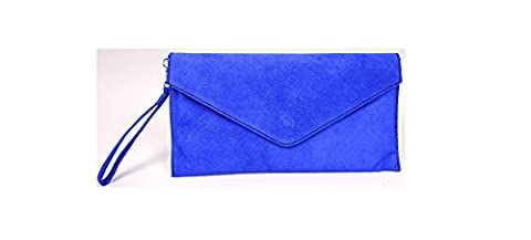 Big Handbag Shop Womens Real Italian Suede Leather Envelope Clutch Bag with Dust Bag - Electric Blue (NL399)