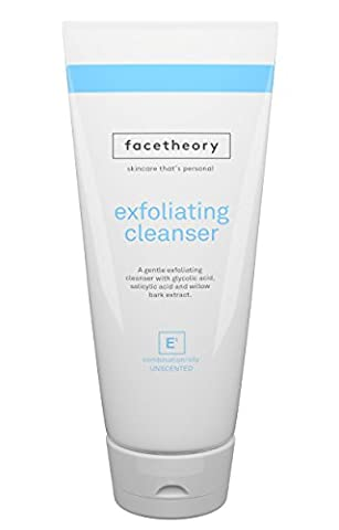 Facetheory Exfoliating Cleanser E1 – Face Scrub for Combination and Oily Skin with Glycolic Acid, Salicylic Acid and 100% Natural Pumice Stone. AHA/BHA Exfoliant. Look Brighter and more Energized! (200ml Tube Unfragranced)
