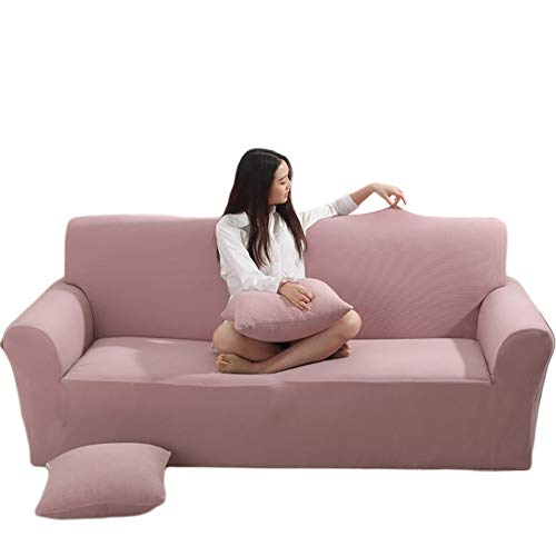 DULPLAY 1-teilige Stretch Sofaüberwurf, Elasthan Aus Stoff Jacquard Sofa Decken Für Couch Anti-rutsch Sofa Schutz Abdeckung-Rosa 3 Seater:190-230cm -